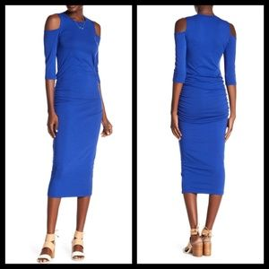 MICHAEL STARS Ruched Cold Shoulder Midi Dress